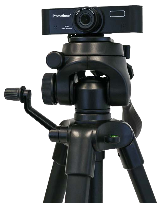 Close up view of a Promethean webcam mounted on a tripod